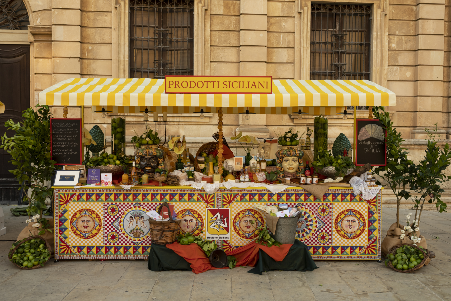 "01/08/2020 - 05/08/2020 - First stage in Siracusa. ""Stand"" set up with Sicilian citrus excellences within the itinerant project of the Sicilian Region, with the creative direction of Dolce & Gabbana"