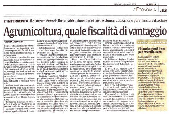 Agrumicoltura Fiscalità/Vantaggio