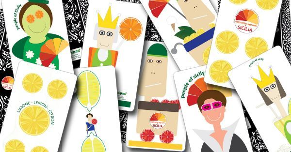 The gigantic Sicilian card deck, where the traditional symbols are replaced by the four excellences PDO and PGI